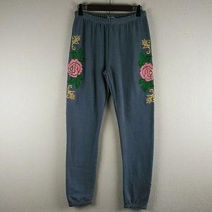 Wildfox Knox - Indigo Rose Embroidered Sweatpants